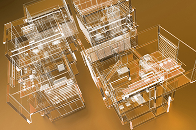 3D rendering of a transparent building against a gold background.