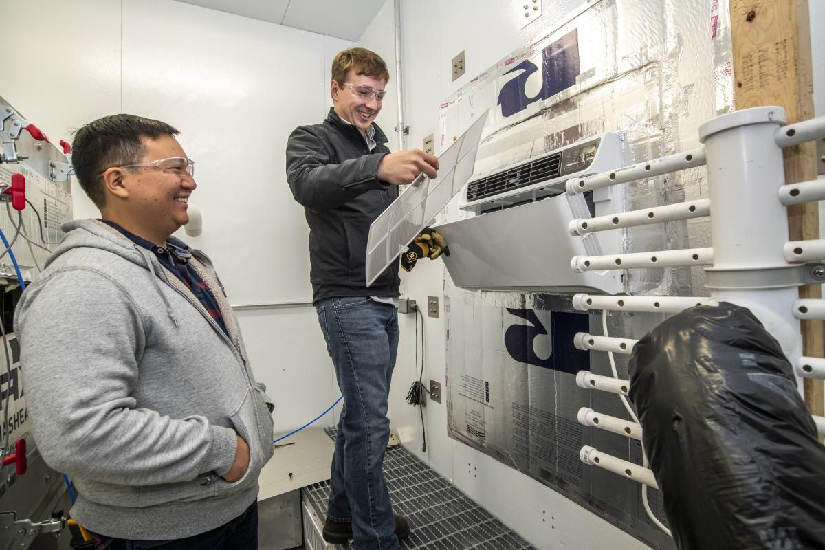Tom Burke and Kevin Zhou in the Balanced Ambient Calorimeter Test Chamber